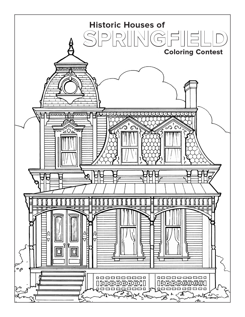 Coloring book landmark for adults - Color Helps Transform Springfield S Historic Houses Into The Beautiful Landmarks That We All Enjoy Join Our Coloring Contest And Show Us How You Would